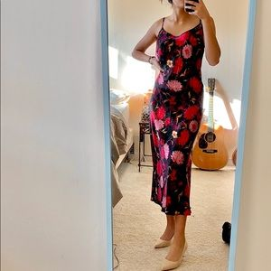 silk floral dress with low back